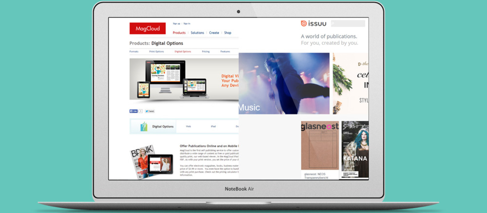 A comparison between Magcloud vs Issuu