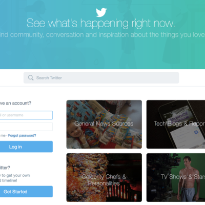 Twitter's new front page advertises news sources, tech reporters, and butts